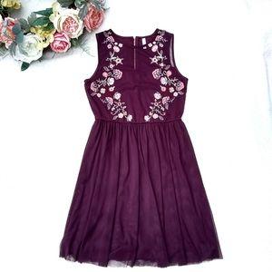SALE! Xhilaration Embroidered Burgundy Tulle Dress